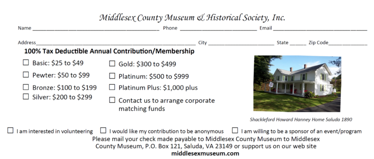 Donate to the Middlesex County Museum