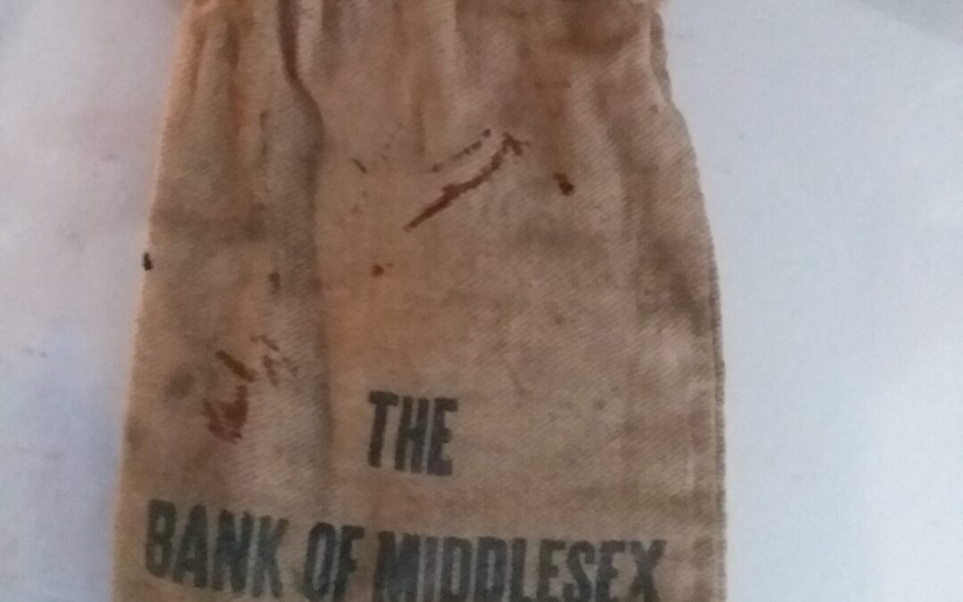 Brown Money Pouch from the Bank of Middlesex