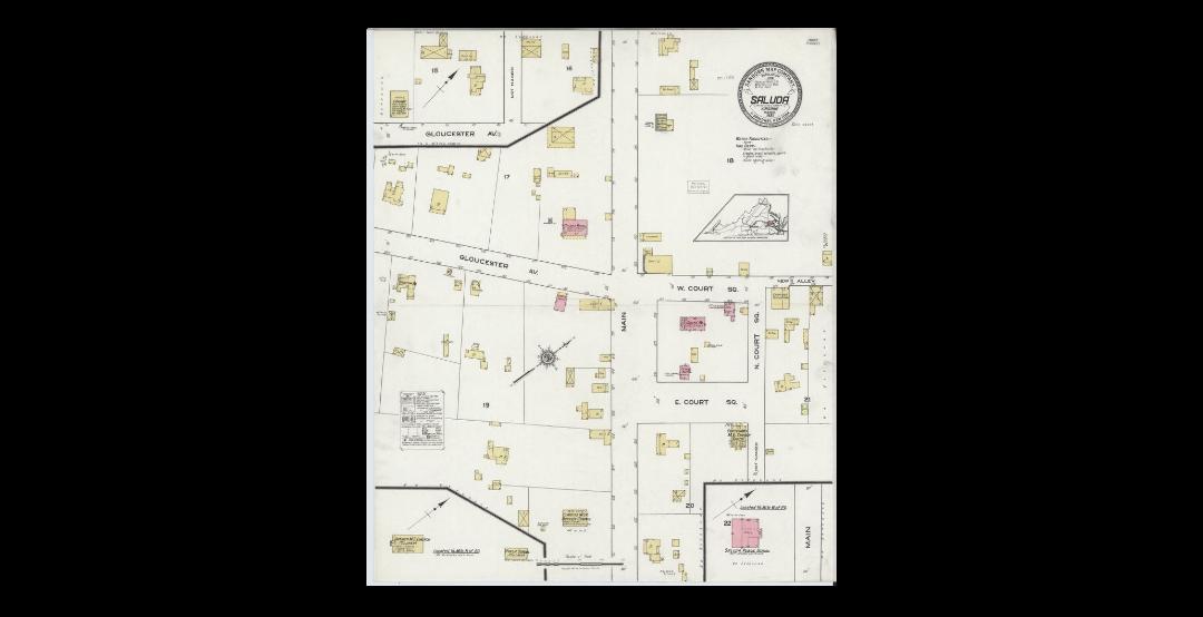 1921 Sanborn Map for Fire Insurance Evaluation of Saluda